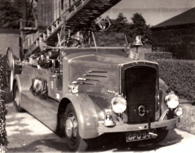 Finally we have a post war DENNIS fire engine pictured here at the council offices. This machine was registered to the council on 24th August 1938. Note they still used a hand bell to warn of their approach. | Essex Fire Museum