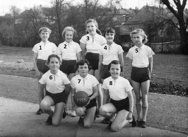 This photo shows eight members of the 1956 girls' netball team: 1.  Ann Summers  2. Elizabeth Sprickett  3. Susan Davis  4. Lesley Dickens  5. Margaret Cheeseman  6. Naomi Watson (or Wilson)  7. Veronica Cunningham  8.  Christine Collie | Ann Morrison collection