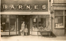 Shop 9 - Mrs Yvonne Barnes and daughter Jackie standing out side their shop. c. 1948 | Jackie Barnes