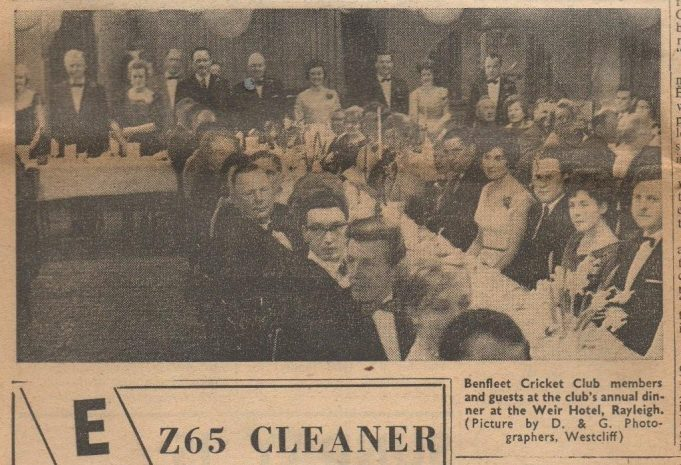 Newspaper clipping of Benfleet Cricket Club Dinner, 1963 | 'The Southend Star' 9th April !963
