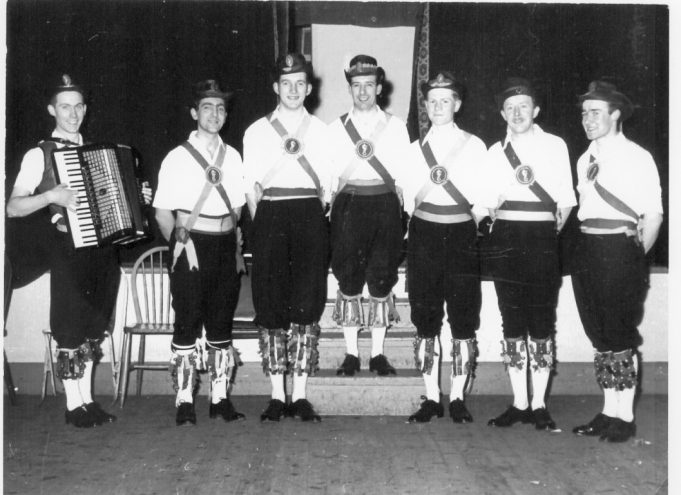 Benfleet Hoymen, Clifftown Church, Southend - 1957. Left to right: Barry Cook, Alan Bearman, David Cass, Brian Conner, David Butson, Unknown, Mike Barclay. | Philip and Maureen Packham