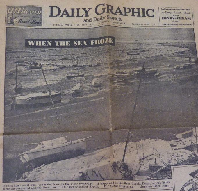 'Daily Graphic' Newspaper, Thursday 30th January 1947 'Sea water Froze on the shore yesterday.'  Benfleet 'Creek, where boats were snow covered and ice bound and the landscape looked Arctic.' | Unknown photographer
