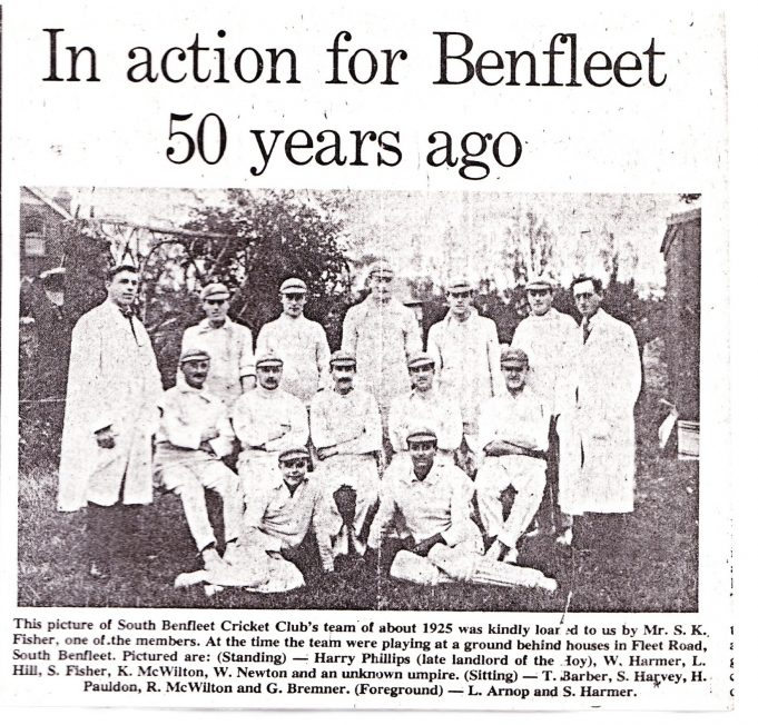 A newspaper cutting from the 1970's of the 1925 Benfleet Cricket Team | John Downer