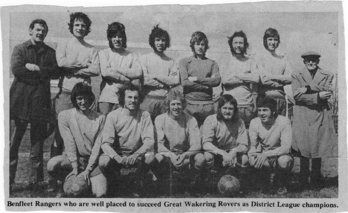 Newspaper photograph players names as follows, ?, Terry Sawford, Alan Whiting, Ray Ansell, Keith Harding, Pip Hope , Keith Way, Keith Goss, Rob Howard, Matt Grocott, Stuart McGown, Dave Cunningham.. Devoted Supporter: Jim Rogers | Brian Baker