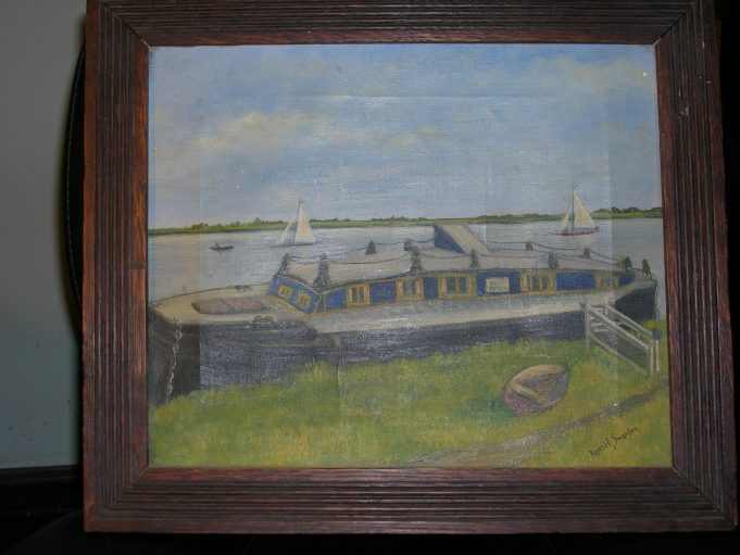 Houseboat Blue Peter painted by Muriel Swanson | Anne Bennett