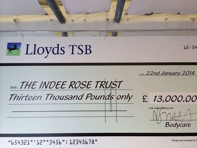 Cheque presented to The Indee Rose Trust | Bodycare Personal Fitness Club