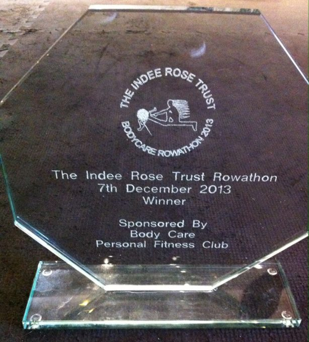 Presented to the winning team who rowed a total of 31,275 metres | Bodycare Personal Fitness Club
