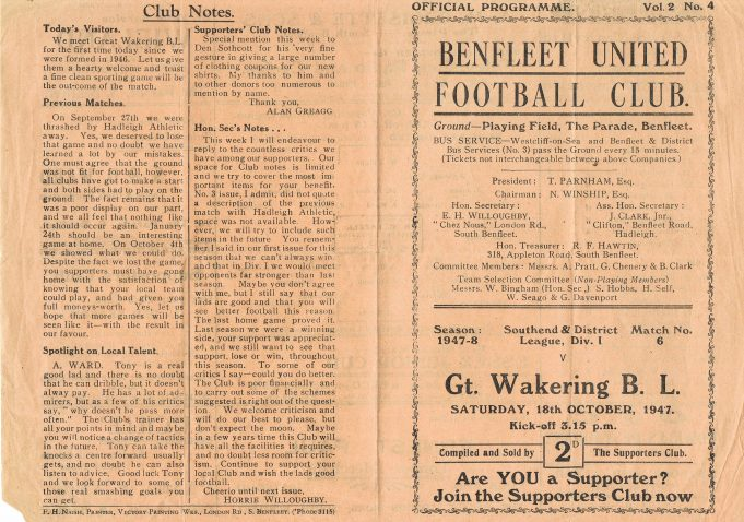 Football Programme front and back | Norman Chisman