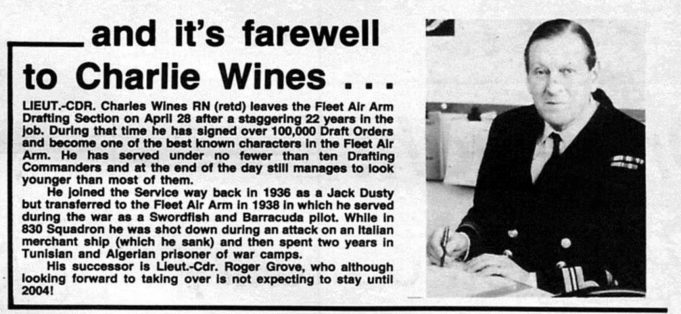 Charles Wines Retirement 26th April 1982 | Navy New April 1982