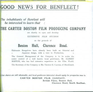 Advert in the Benfleet Weekly Gazette dated 5th October 1928