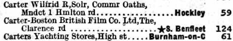 1929 Telephone directory entry for The Carter-Boston Film Producing Company