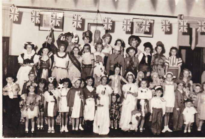 Group photograph of the fancy dress for the Queen's Coronation.   Doreen Batchford