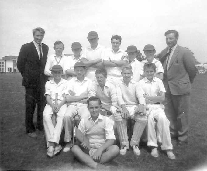 Cricket team with Mr Grocott  - Back row, 5th from left Keith Gibbs. 1960 | Ann Morrison collection