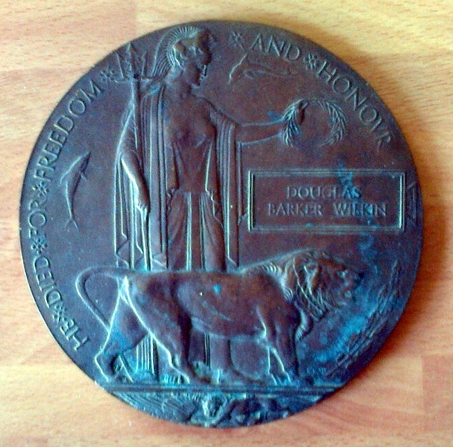 The Memorial Plaque (Death Penny) for Prv D B Wilkin. | Martin Langshaw
