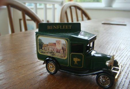 Lledo model van with Benfleet livery