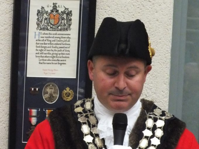 The Mayor in front of Sapper Ellison's medals | Phil Coley
