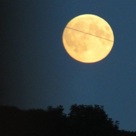 Super Moon rising over Benfleet 6.52 pm 27th September 2015. The black line across it is the vapour trail of a plane that crossed in front of the moon. FUJIFILM FinePix HS30EXR F/5.6 at 1/120 sec. | Phil Coley