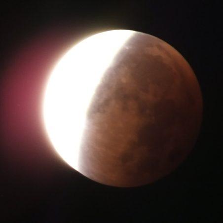 Halfway through second part of partial eclipse 4.42 am. FUJIFILM FinePix HS30EXR F/5.6 at 2.5 secs. | Phil Coley