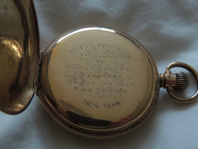 Inscription: Cyril Downer - Presented by Officers and Men - Benfleet Urban District Fire Brigade - 1925-1934 | Frank Gamble