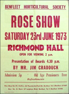 BHS Rose Show poster for June 1973 | Benfleet Horticultural Society
