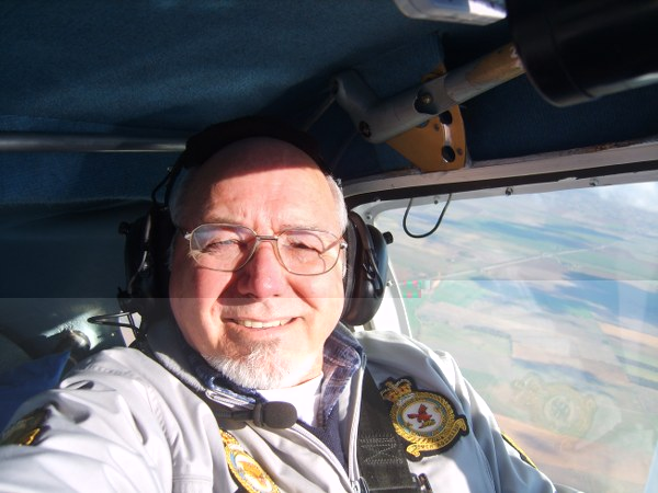 Doug at 3,000ft wearing his squadron badges | Doug Mansfield