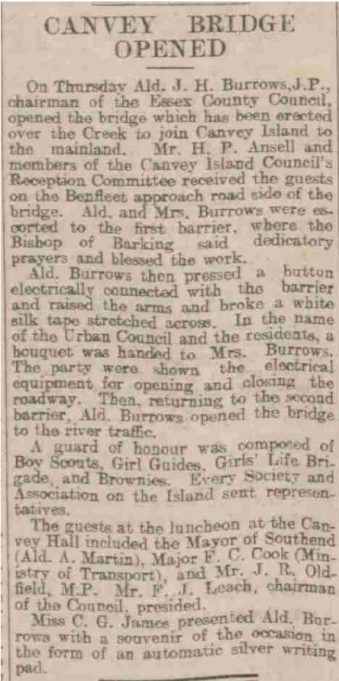 Report of the opening of the Colvin Bridge