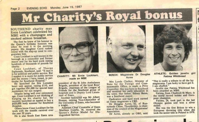 Newspaper Article | Evening Echo 15th June 1987
