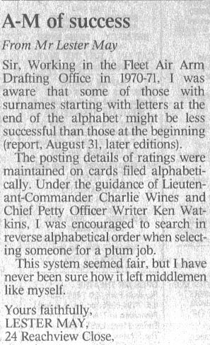 Letter to 'The Times' newspaper 1 September 2001 | Lester May