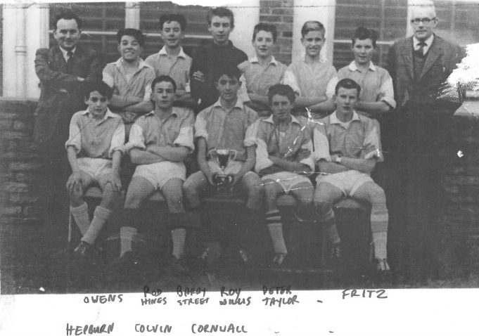 Back row L to R: Dave Owens, Rod Hines, Barry Street, Roy Willis, Peter Taylor, Keith Way and last but not least Fritz (Mr Evans). Front row L to R: Terry Hepburn, Peter Colvin, Dave Cornwall, Colin Hart, Michael Bamber. No date. | Ann Morrison collection