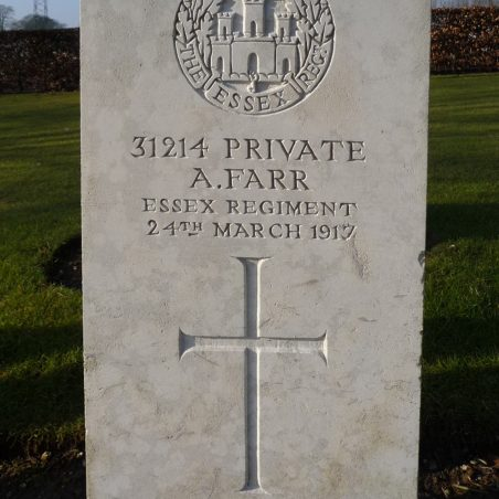 Grave of A. Farr. | Copyright.  The War Graves Photographic Project.