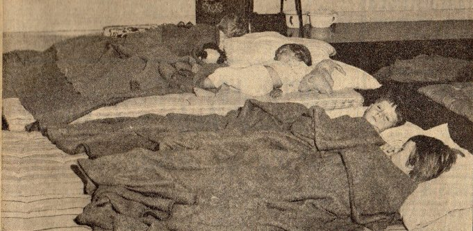 Children settling down for the night on mattresses on the floor at Runnymede Hall, Thundersley | Southend Standard Newspaper