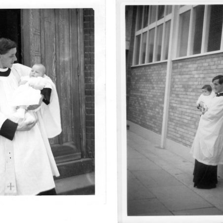 Rev. Carlos with baby after a christening.