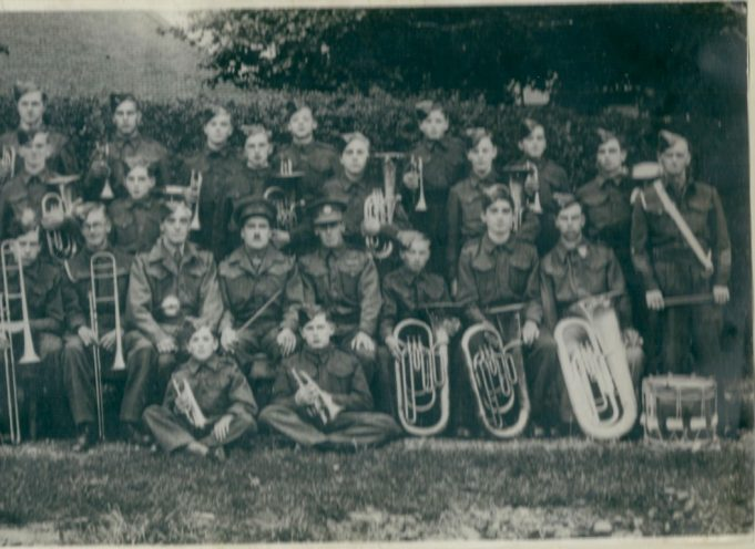 2nd Battalion Essex Regiment Cadet Force Band 1942.  Arthur Alden is in the centre with the moustache.  Front row on floor left to right Bryan Freeman, George Nunn | Peter Freeman.