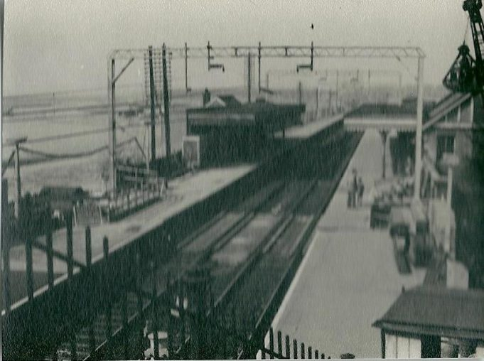 Benfleet Station from the foot bridge, the electification of the line has been completed, date unknown. | Gilbert Wines