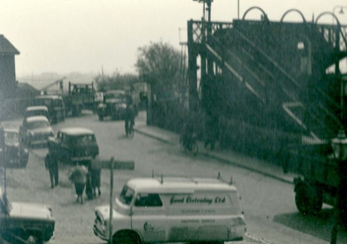 The old railway crossing and foot bridge at Benfleet station, date unknown. | Gilbert Wines