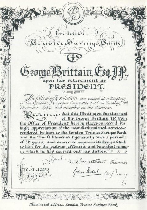 Certificate Presented to George Brittain Upon his Retirement as President of the London Trustee Savings Bank