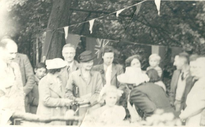 Mrs Braine (thought to be in the centre with dark hat) at the Church fete. Date unknown | Gilbert Wines
