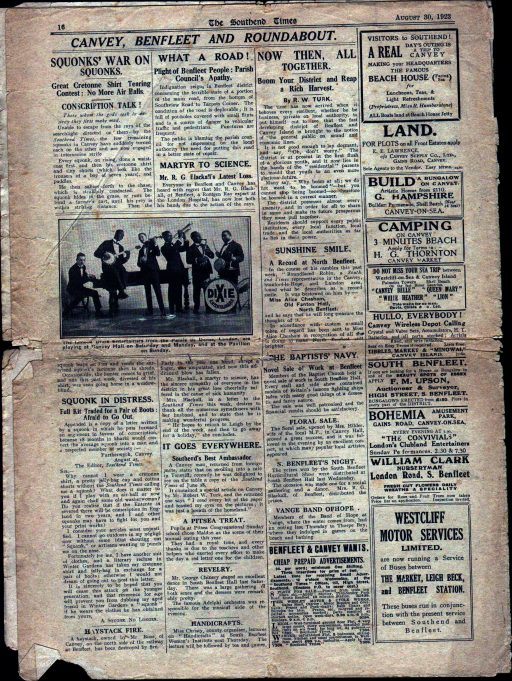 Pt 8: Back page of supplement showing some local news. | Southend Times 30th August 1923
