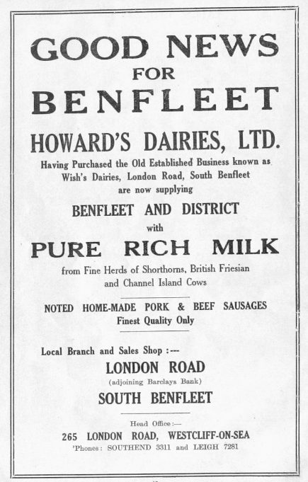 Shops 1 & 6 - Advert for Howard's Dairies | B.U.D.C.