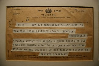 Message from Her Majesty's Private Secretary conveying sincere thanks to the residents of Benfleet | Post Office Telegram