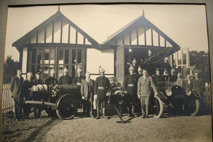 South Benfleet Volunteer Fire Brigade members outside the station - September 1926.  Councillor Walter Johnson can be seen far right in the photo. | Castle Point Council