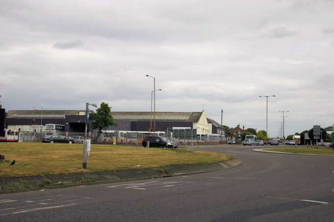 Looking towards Southend, the same view as the photo above.The bus garage is clearly visible but the colonial style house that was on the corner has now been demolished.  Today many buses are garaged in this area.  Photo taken May 2011 | Eileen Gamble