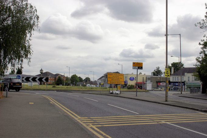 The roundabout in May 2011. The entry to Arcadian Gardens was originally to the left of the picture.  Today there is no access to this road from the Rayleigh Road. | Eileen Gamble