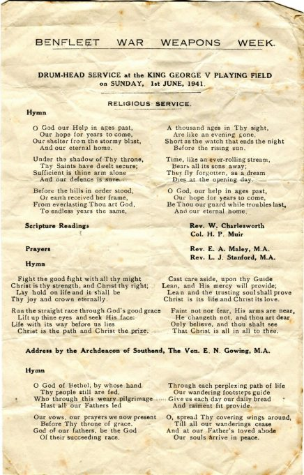 The Service Sheet from Sunday 1st June 1941 | Courtesy of the Bay Museum