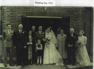 Wedding 1952 - John H Stockwell and Maureen Cooper, Thundersley Congregational Church. L to R: Roy Luxford, Harold Stockwell, Kathleen Stockwell, The Reverend, John Stockwell, Maureen Stockwell, Maud Cooper, Charlie Cooper and Jennifer Stockwell. Front: Michael Reed. | Tracy & Paul Kreyling
