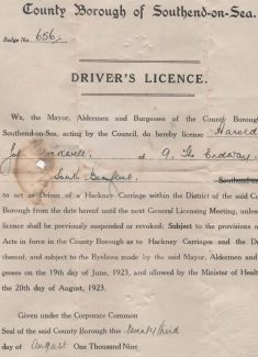 Hackney Carriage Licence, Harold Stockwell, 9 The Endway | Tracy & Paul Kreyling