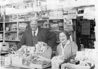 My Mum & Dad (Joan Frederica Sands and Frederick Thomas Peace Sands) standing in the shop which was called Hopes Green Stores, 209 High Road. c. 1968 | Stephanie File