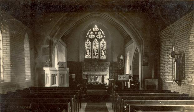 The interior of All Saints Church, North Benfleet. I remember the organist when I attended Sunday service's was Mrs Thomas. | © (Scan) Basildon History Online.