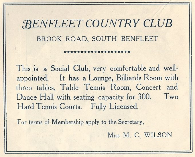 The Benfleet Country Club was where these tennis courts were. | The Urban District of Benfleet Official Guide 1939