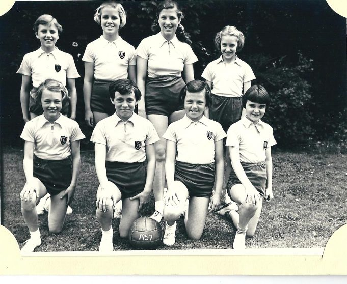 South Benfleet School Netball Team 1957   Back row left to right; Ann Summers, Naomi Wilde (See comment below byNaomi Stuart-Smith), Susan Davies, Margaret ? Front row; Jennifer Watson [I think] Veronica Cunningham, Christine Collie, Lesley ? | From the collection of Miss Bass
